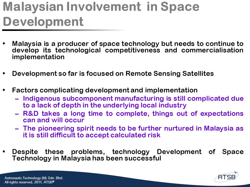 Malaysian Involvement in Space Development