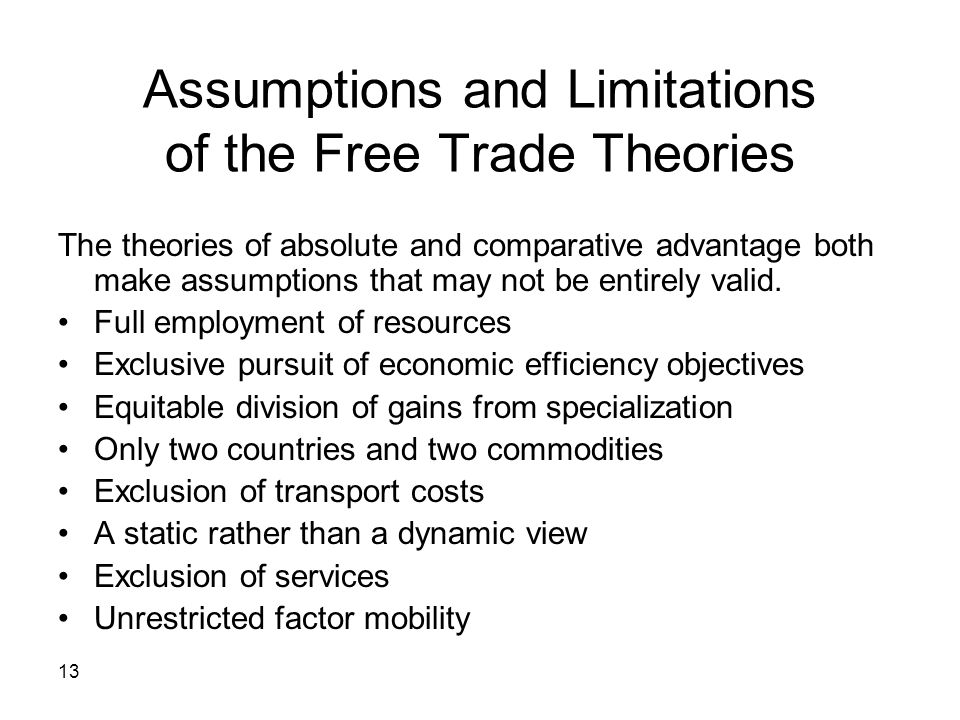 Assumptions and Limitations of the Free Trade Theories