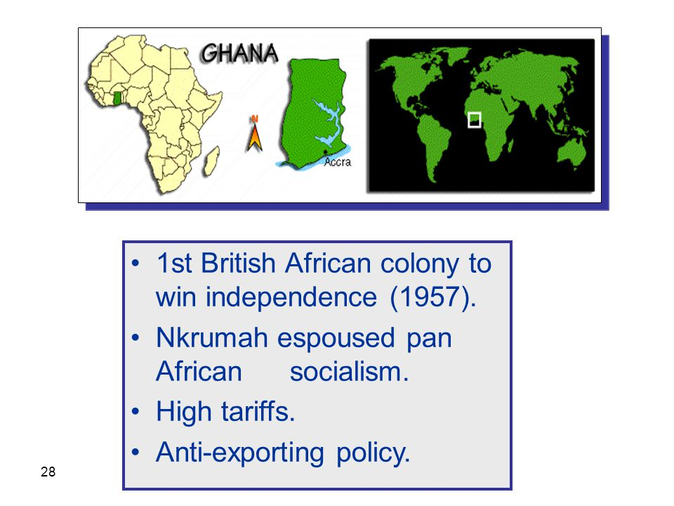 1st British African colony to win independence (1957).