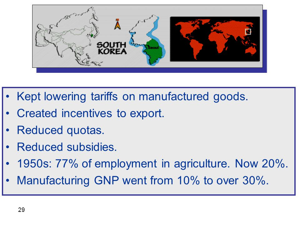 Kept lowering tariffs on manufactured goods.