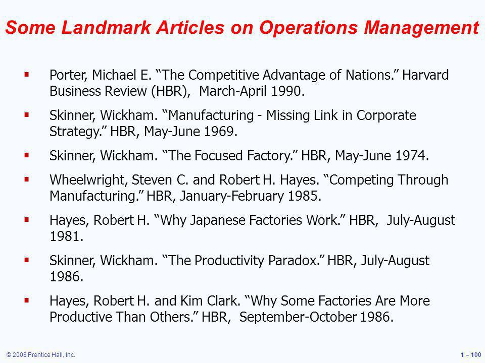 Some Landmark Articles on Operations Management