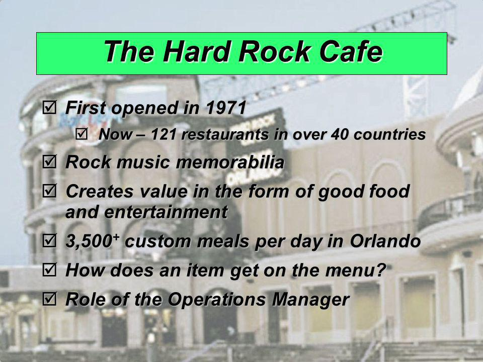 The Hard Rock Cafe First opened in 1971 Rock music memorabilia