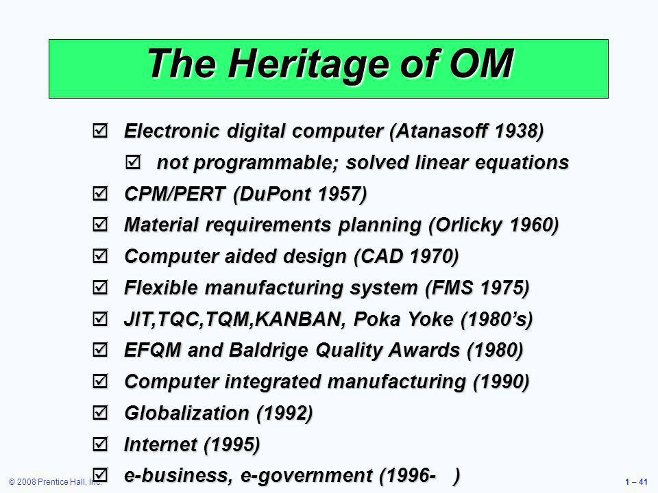 The Heritage of OM Electronic digital computer (Atanasoff 1938)
