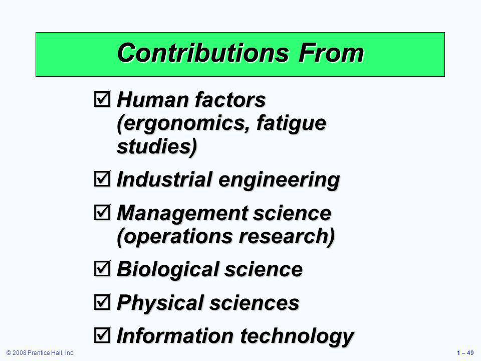 Contributions From Human factors (ergonomics, fatigue studies)