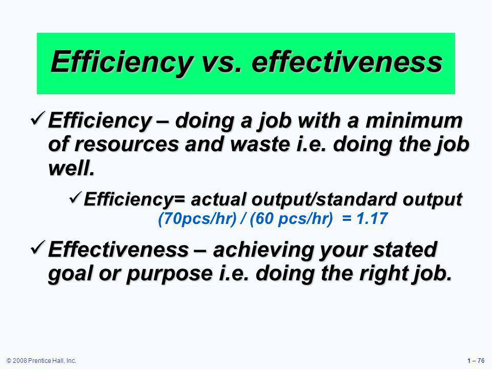 Efficiency vs. effectiveness