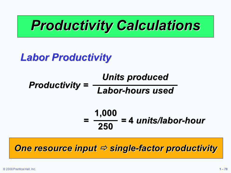 Productivity Calculations