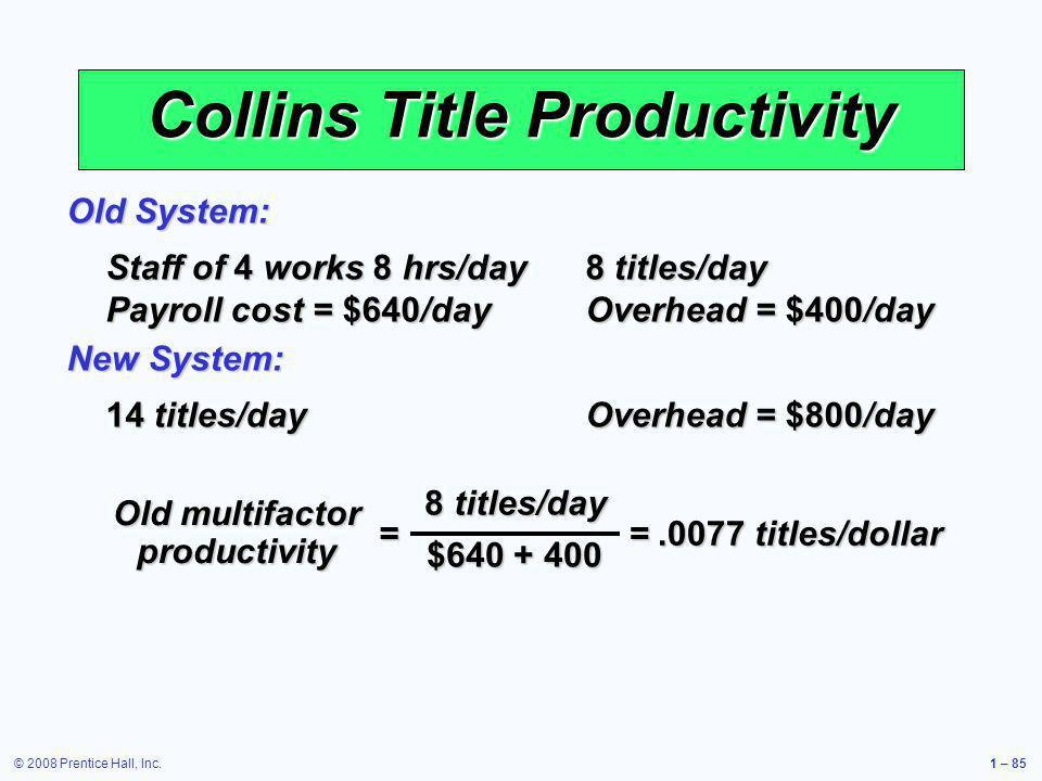 Collins Title Productivity