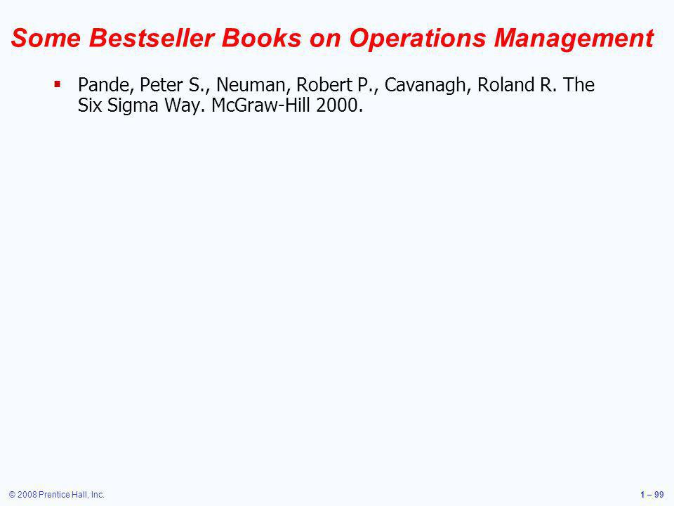 Some Bestseller Books on Operations Management