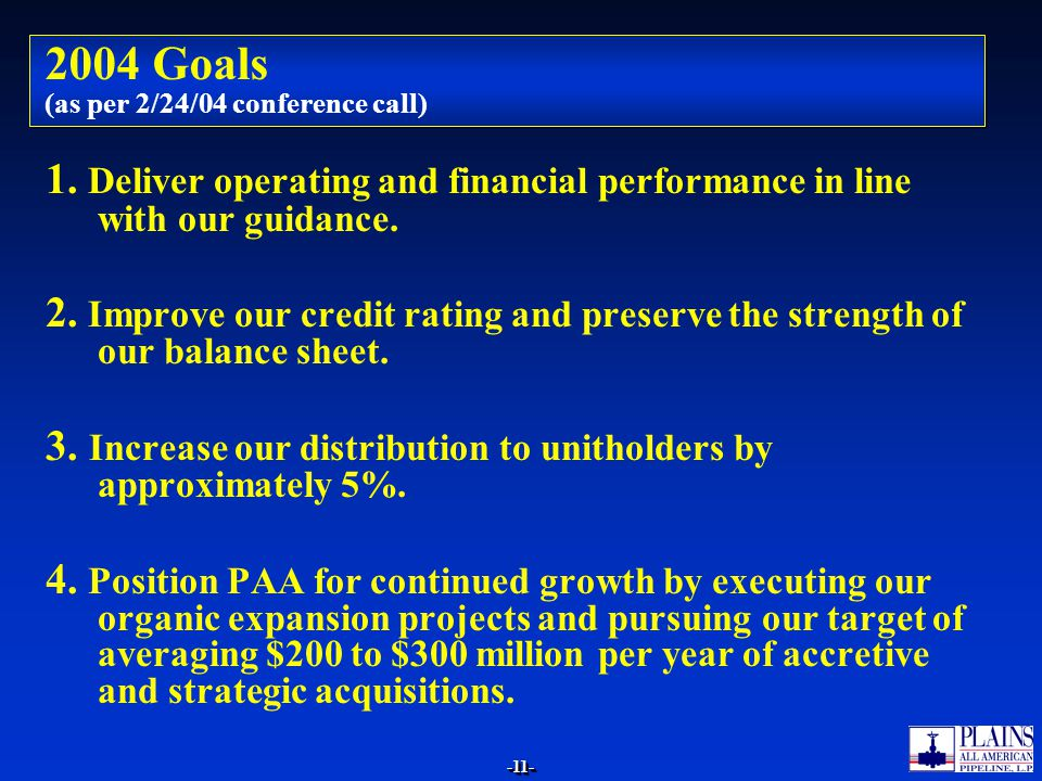 2004 Goals (as per 2/24/04 conference call)
