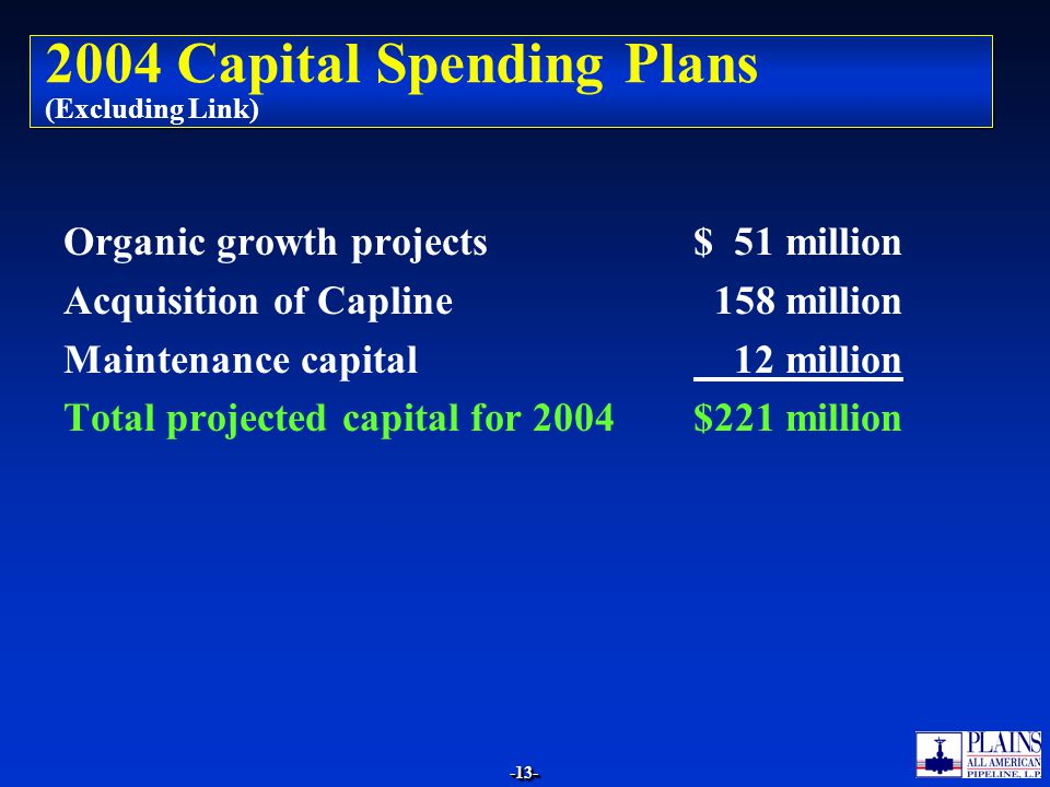 2004 Capital Spending Plans (Excluding Link)