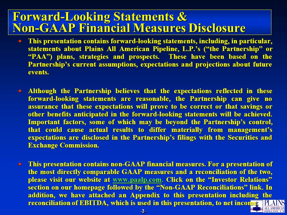 Forward-Looking Statements & Non-GAAP Financial Measures Disclosure