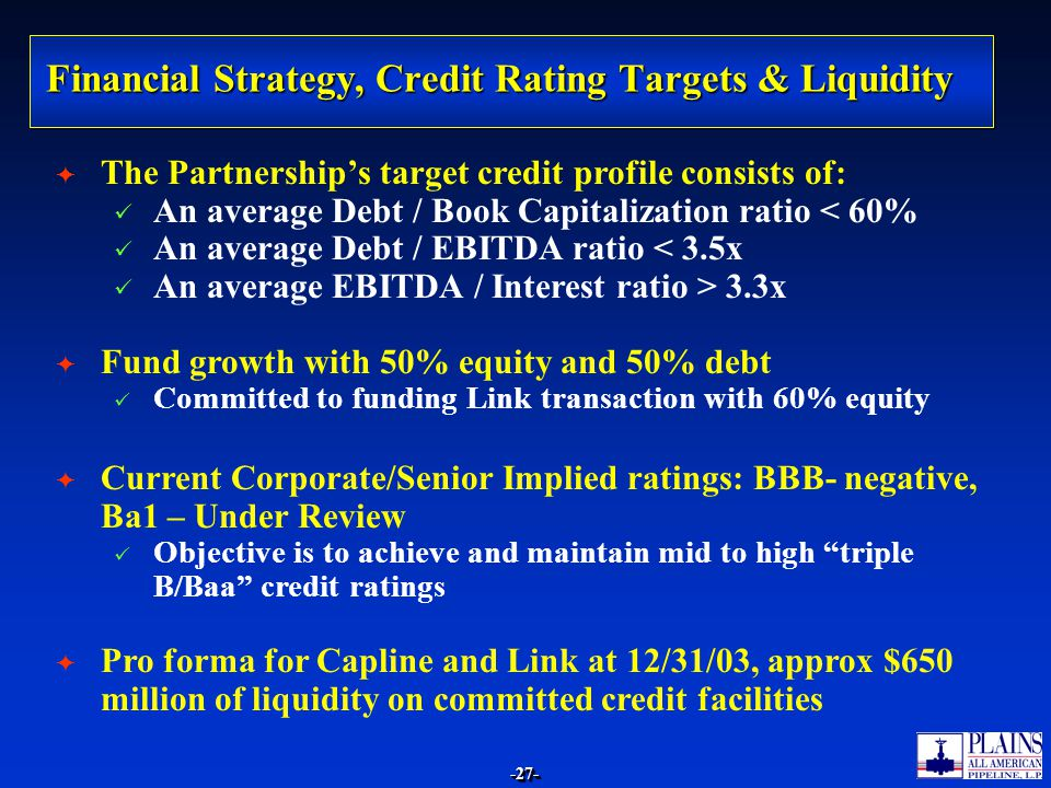 Financial Strategy, Credit Rating Targets & Liquidity