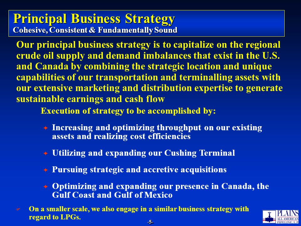 Principal Business Strategy Cohesive, Consistent & Fundamentally Sound
