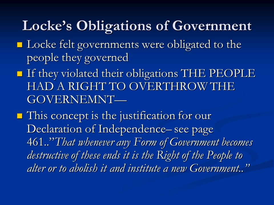 Locke's Obligations of Government
