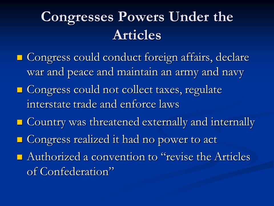 Congresses Powers Under the Articles