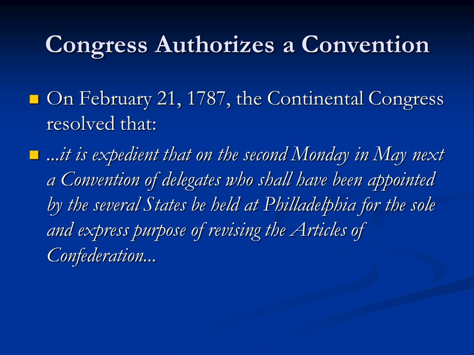 Congress Authorizes a Convention