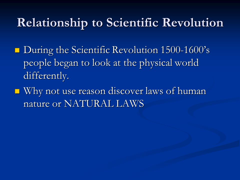 Relationship to Scientific Revolution