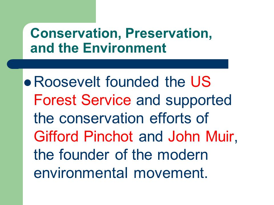Conservation, Preservation, and the Environment