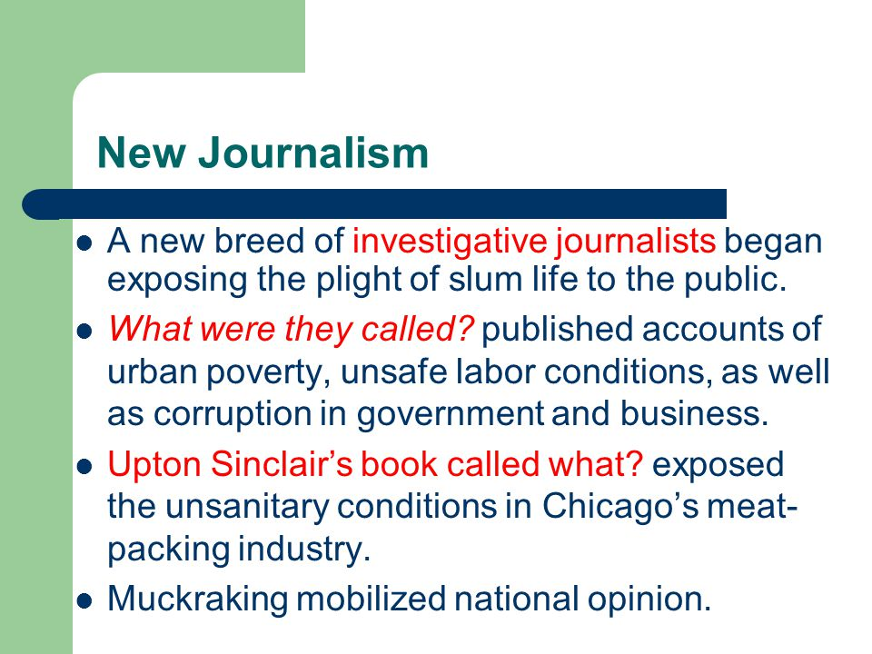 New Journalism A new breed of investigative journalists began exposing the plight of slum life to the public.