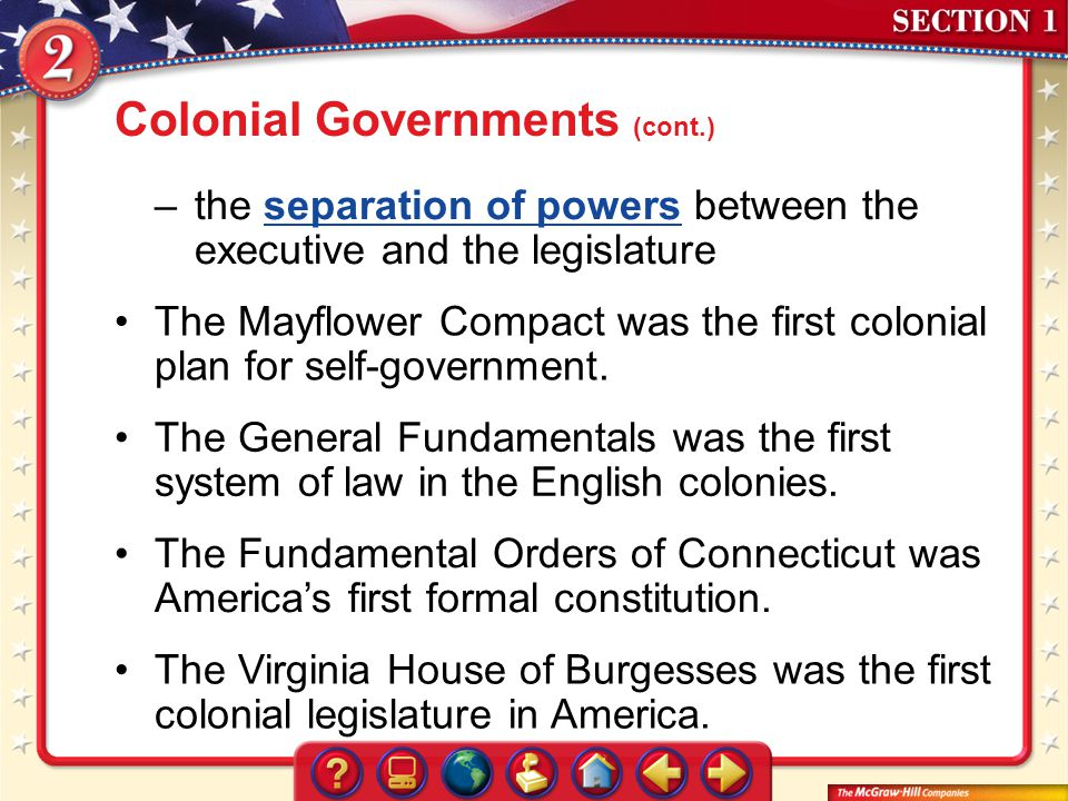 Colonial Governments (cont.)