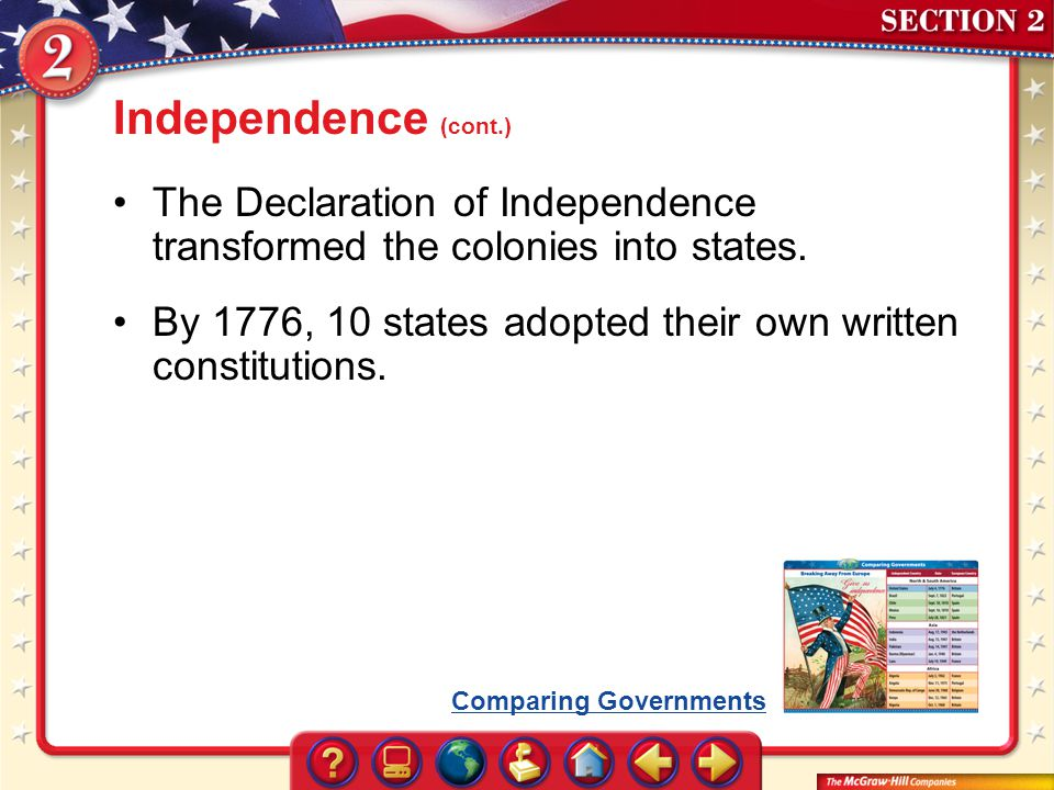 Independence (cont.) The Declaration of Independence transformed the colonies into states.