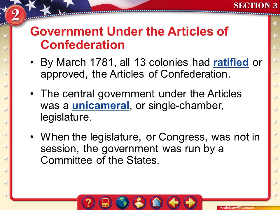 Government Under the Articles of Confederation