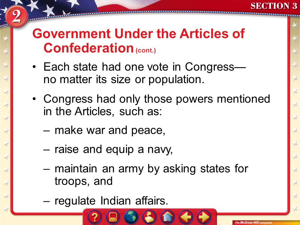 Government Under the Articles of Confederation (cont.)