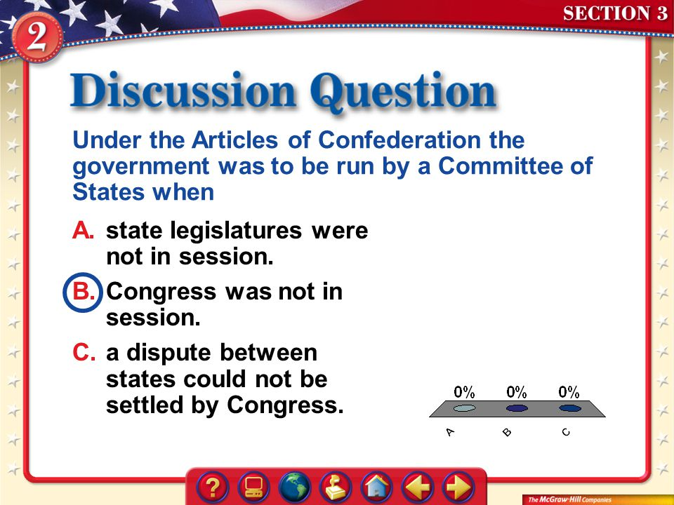 Under the Articles of Confederation the government was to be run by a Committee of States when