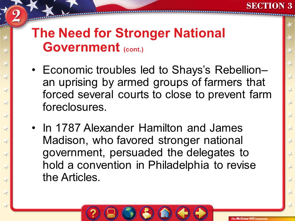 The Need for Stronger National Government (cont.)