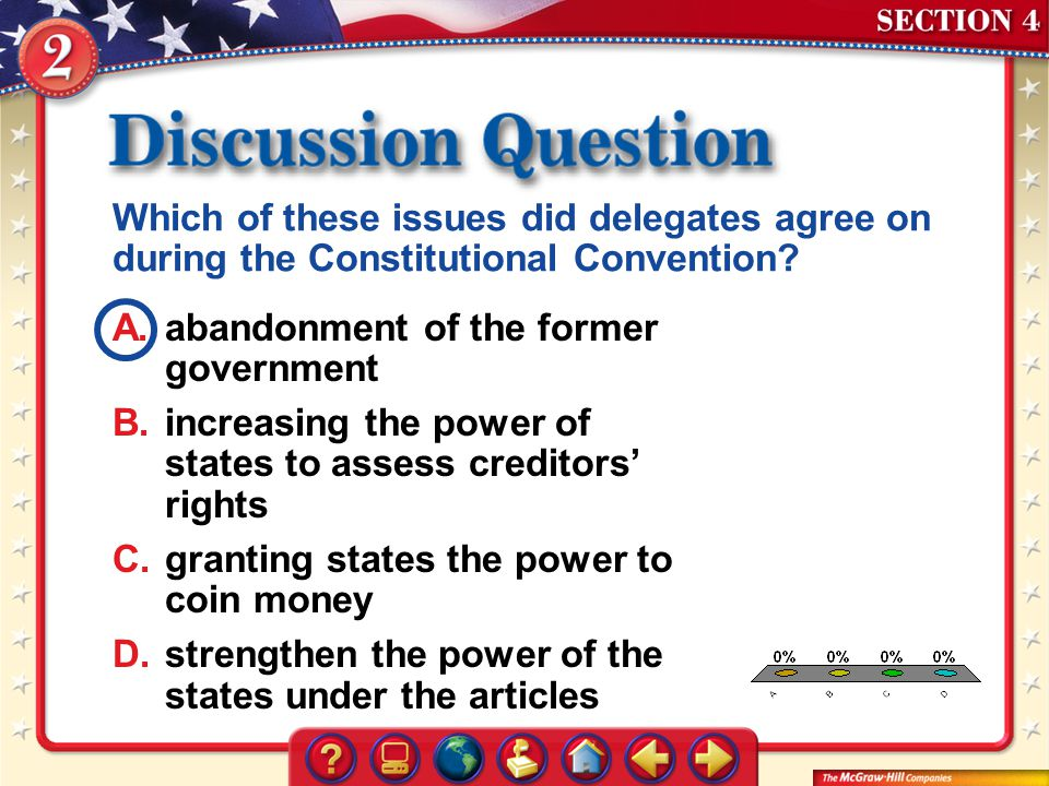 Which of these issues did delegates agree on during the Constitutional Convention
