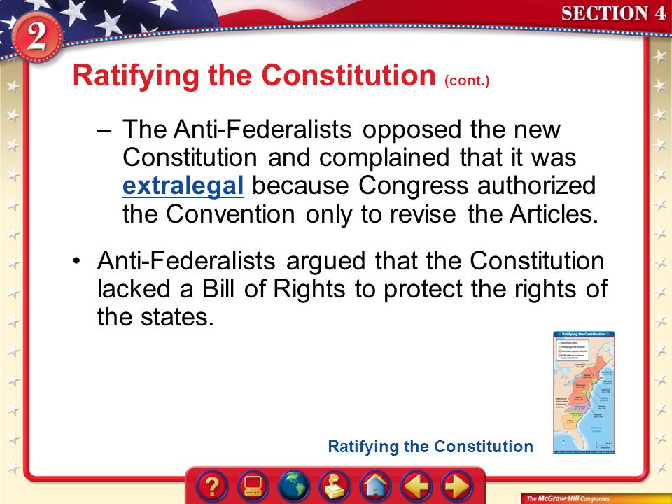 Ratifying the Constitution (cont.)