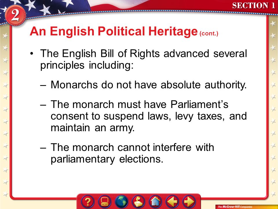 An English Political Heritage (cont.)