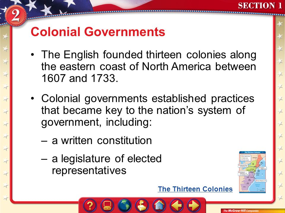 Colonial Governments The English founded thirteen colonies along the eastern coast of North America between 1607 and 1733.