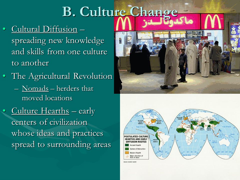 B. Culture Change Cultural Diffusion – spreading new knowledge and skills from one culture to another.