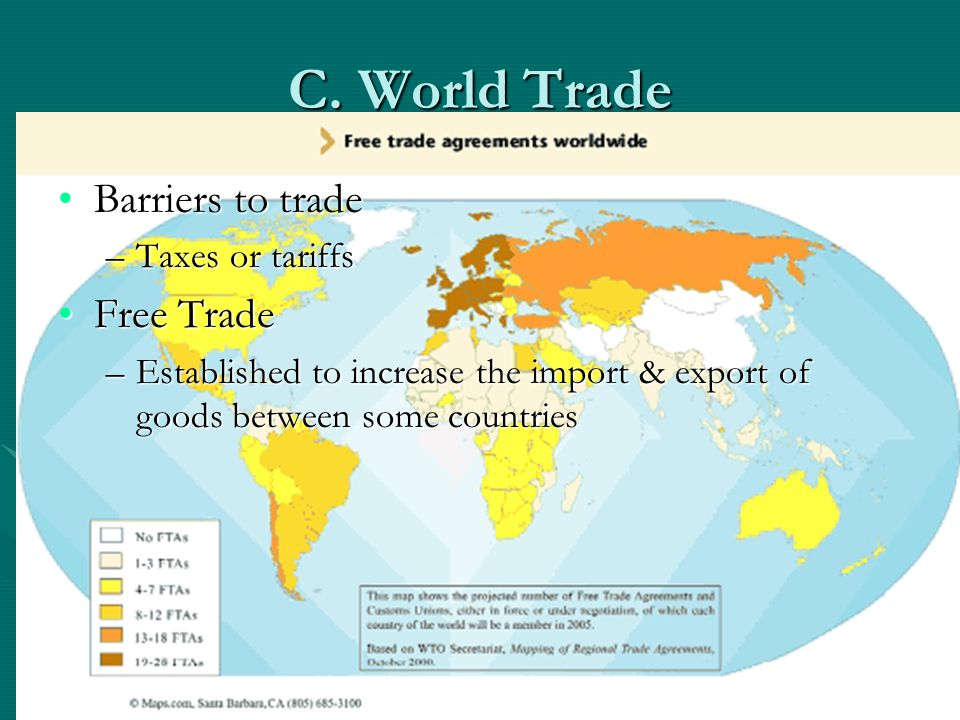C. World Trade Barriers to trade Free Trade Taxes or tariffs