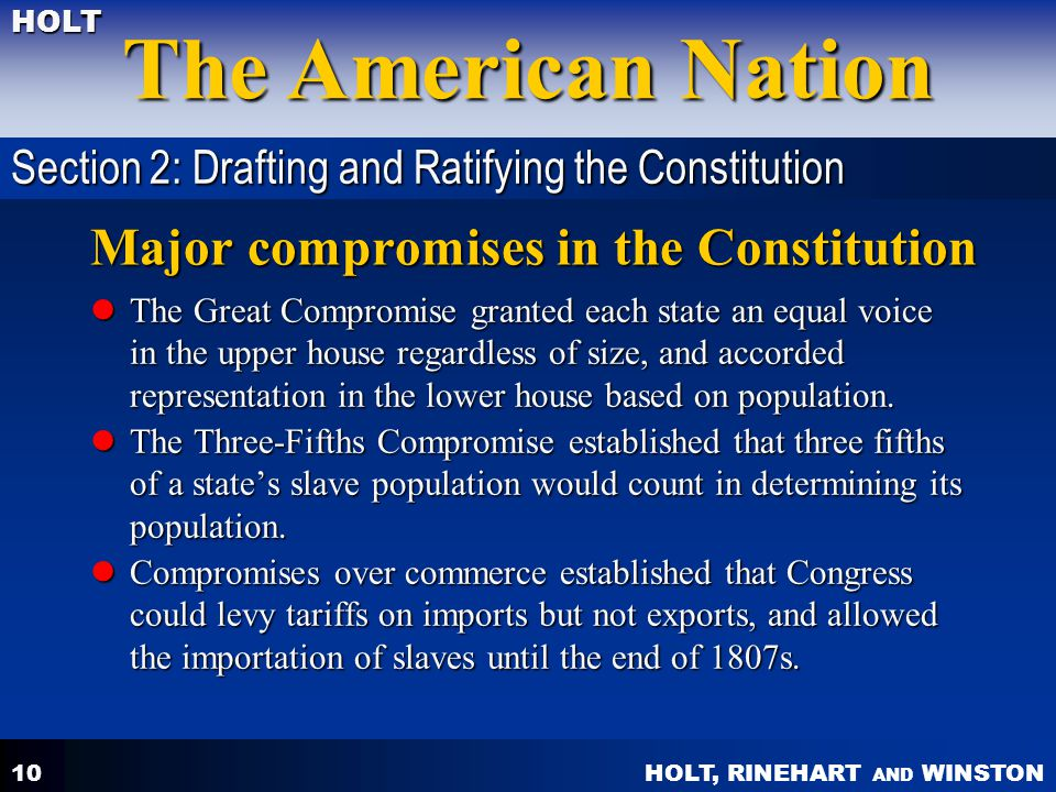 Major compromises in the Constitution