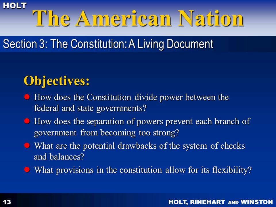 Objectives: Section 3: The Constitution: A Living Document