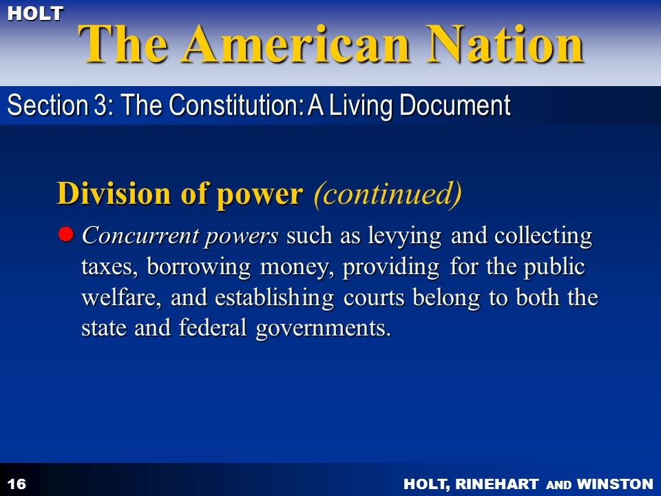 Division of power (continued)
