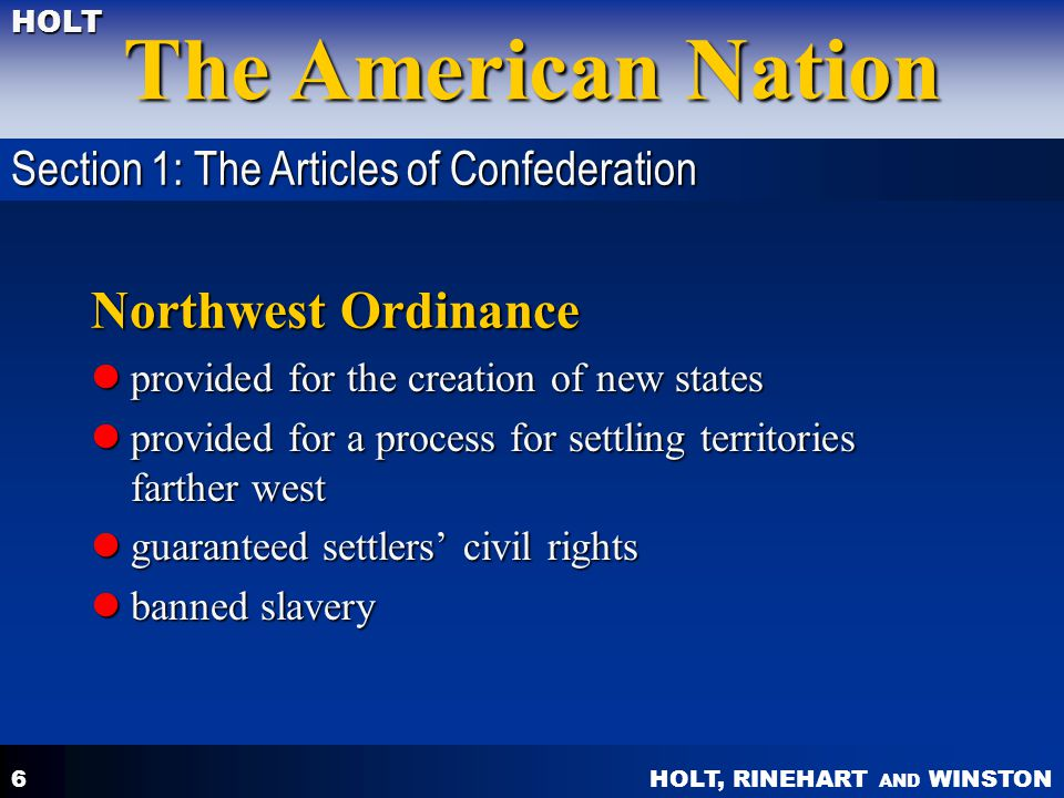Northwest Ordinance Section 1: The Articles of Confederation