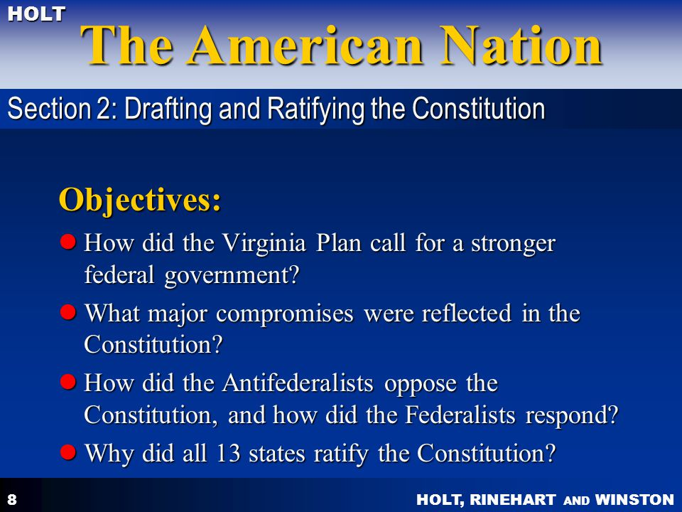 Objectives: Section 2: Drafting and Ratifying the Constitution