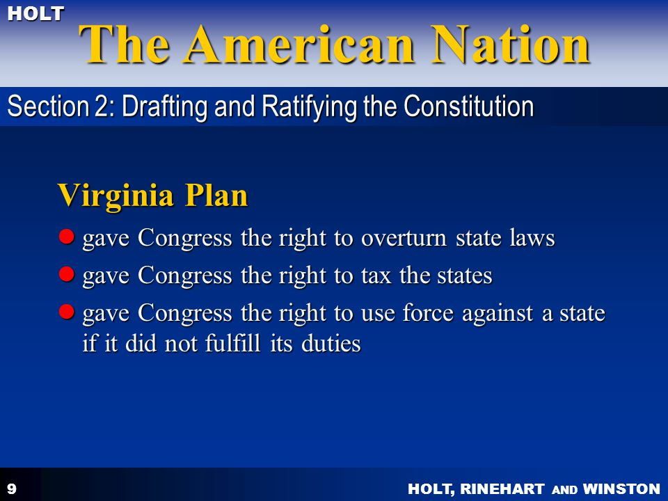 Virginia Plan Section 2: Drafting and Ratifying the Constitution