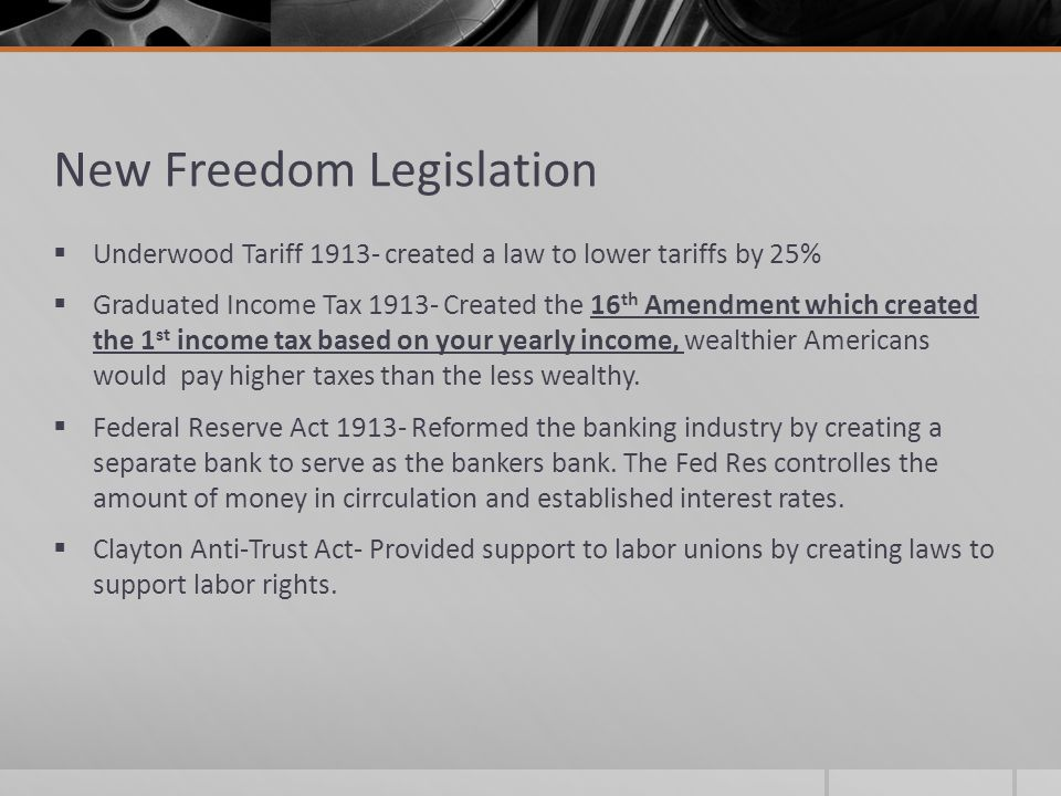New Freedom Legislation
