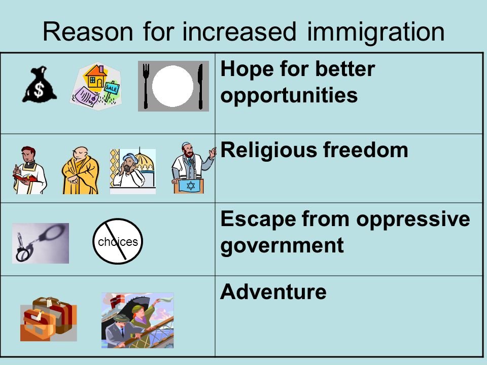 Reason for increased immigration