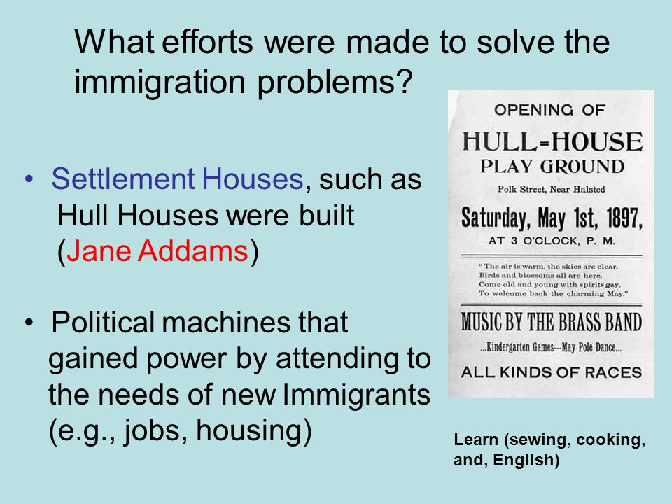What efforts were made to solve the immigration problems