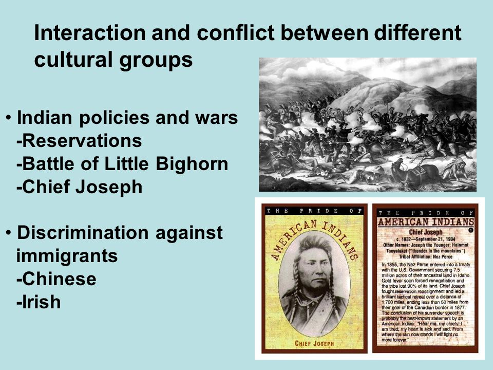 Interaction and conflict between different cultural groups