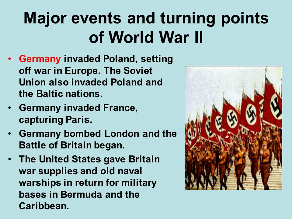Major events and turning points of World War II