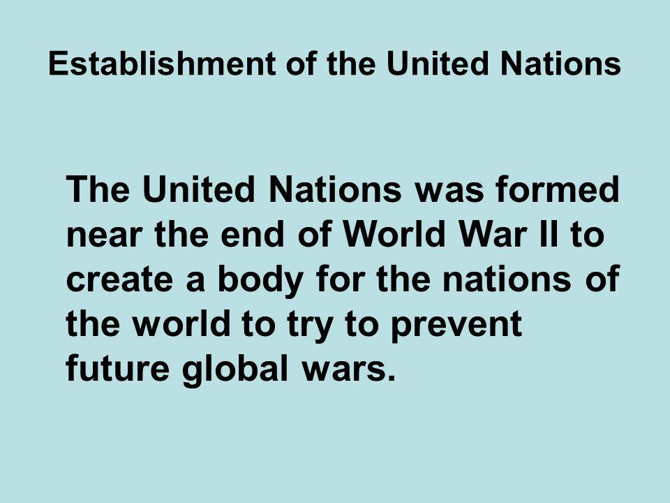 Establishment of the United Nations