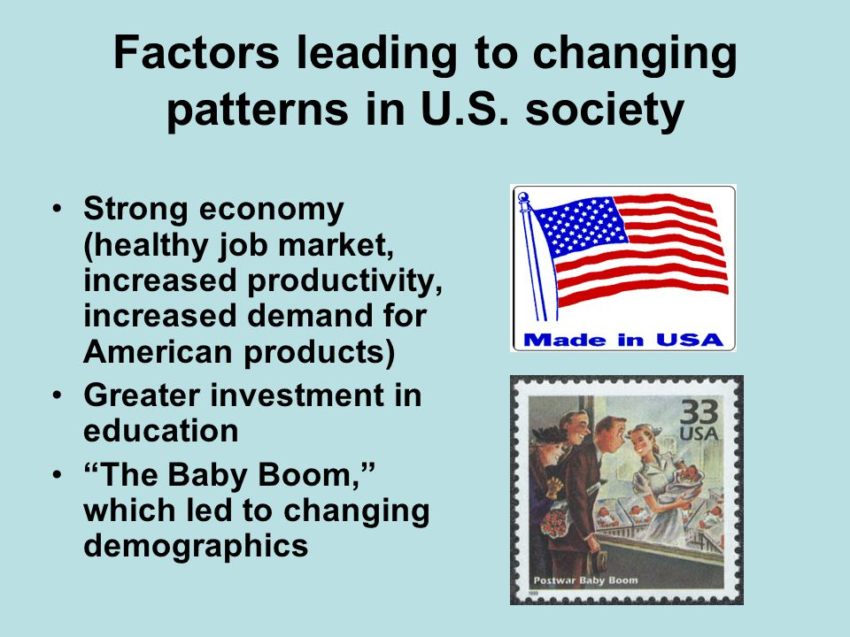 Factors leading to changing patterns in U.S. society