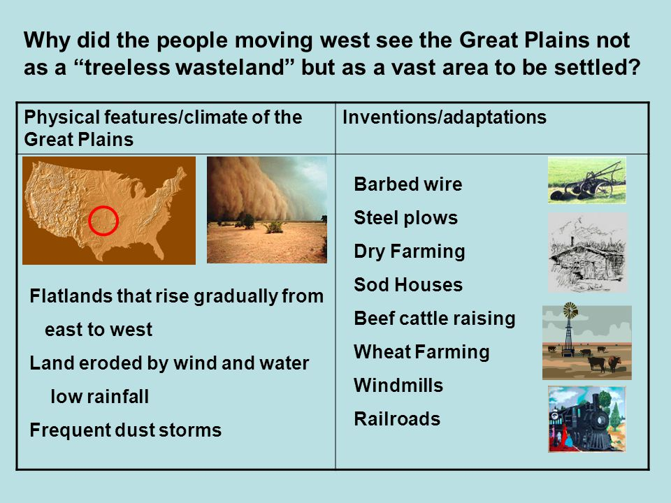 Why did the people moving west see the Great Plains not as a treeless wasteland but as a vast area to be settled