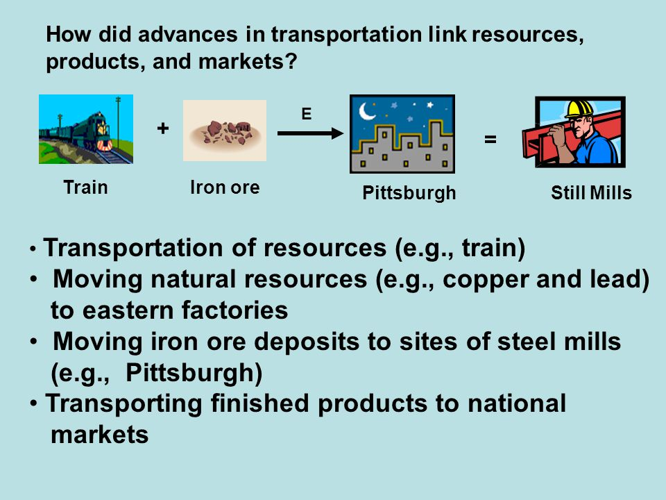 Moving natural resources (e.g., copper and lead) to eastern factories